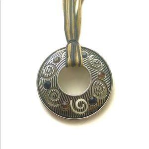 Brown, Black, Silver Pendant Necklace-Lia Sophia